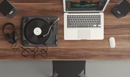 Turntable, Top View, Audio Stock Image