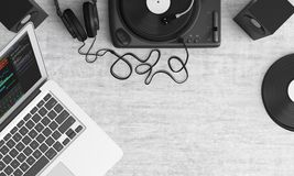 Turntable, Top View, Audio Royalty Free Stock Photos