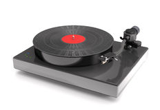 Turntable vinyl with gramophone record 3d illustration. Stock Photography
