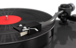 Turntable vinyl with gramophone record, macro, blur 3d  Stock Photos
