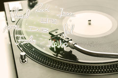 Turntable with vinyl and music genres writen. Concept on background royalty free stock images