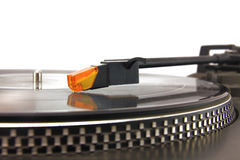 Turntable and vinyl record. Isolated ojn white Stock Photo