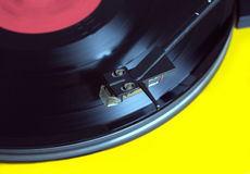 Turntable with vinyl record closeup Stock Photography