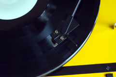 Turntable with vinyl record closeup Stock Photo