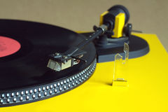 Turntable with vinyl record closeup Stock Image