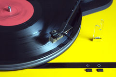 Turntable with vinyl record closeup Royalty Free Stock Images