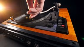 Turntable with a vinyl record is getting launched. 4K stock footage