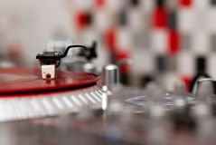 Turntable vinyl record player closeup Stock Photos