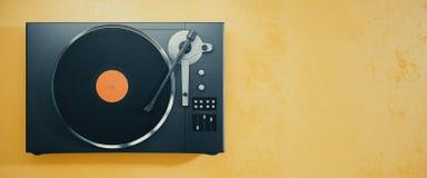 Vinyl record player on orange background Stock Photo