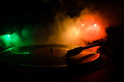 Turntable vinyl record player. Retro audio equipment for disc jockey. Sound technology for DJ to mix & play music. Vinyl record be Royalty Free Stock Images