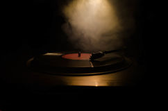 Turntable vinyl record player. Retro audio equipment for disc jockey. Sound technology for DJ to mix & play music. Vinyl record be Stock Photography