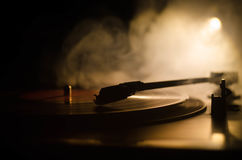 Turntable vinyl record player. Retro audio equipment for disc jockey. Sound technology for DJ to mix & play music. Vinyl record be Royalty Free Stock Image