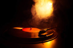 Turntable vinyl record player. Retro audio equipment for disc jockey. Sound technology for DJ to mix & play music. Vinyl record be Royalty Free Stock Photos