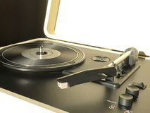 Retro vinyl record player. Turntable vinyl record player top view, sound technology stock image