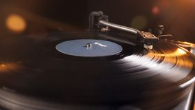 Turntable with a vinyl record is playing. 4K stock footage