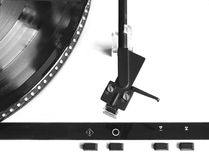 Turntable with vinyl record top view isolated close up Royalty Free Stock Images