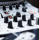 Turntable, vinyl and sound mixer Royalty Free Stock Photos