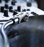 Turntable, vinyl and sound mixer Stock Photography