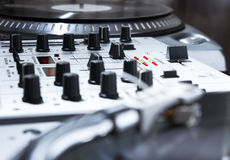 Turntable, vinyl and sound mixer Stock Photo
