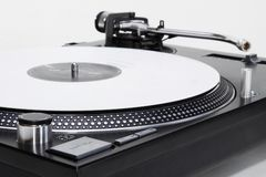 Turntable with white vinyl record Stock Photography