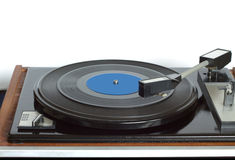 Turntable in wooden case front view isolated Stock Photos