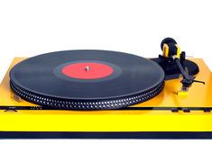 Turntable in yellow case front view isolated Royalty Free Stock Photos