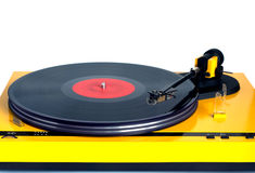 Turntable in yellow case front view isolated Royalty Free Stock Photography