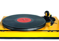 Turntable in yellow case front view isolated Stock Image