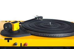 Turntable in yellow case rear view  Stock Photos