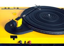 Turntable in yellow case rear view isolated Royalty Free Stock Photo