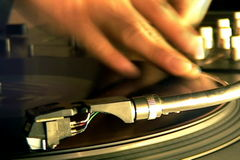 Turntableist DJ Scratching. A hip hop DJ mixing and scratching stock video