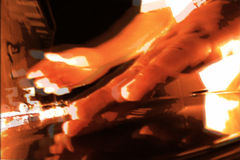 Turntableist DJ at work with Glitch and Stutter. A DJ mixes on the turntables with sepia effects and glitches. NTSC stock footage
