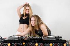 turntables женщины djs Стоковая Фотография
