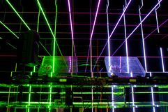 Turntables. Color lazer rays and the turntables Royalty Free Stock Photos