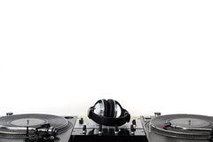 Turntables, headphones & sound mixer. Professional audio mixing equipment waiting for a DJ Stock Photos