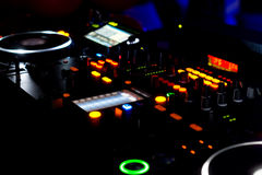 Turntables and music mixing deck at a disco Stock Photography