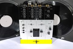 Turntables and sound mixer Stock Images