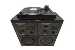 Turntables on speakers. Isolated on withe background Royalty Free Stock Images