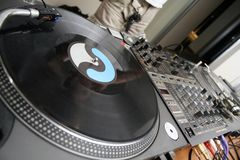 Turntables and spining record Stock Photography