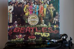 Turntables With The Beatles Vinyls In The Background. Stock Photos