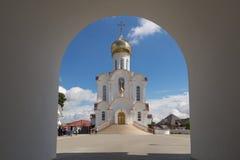 Turov, Bielorussia - 7 agosto 2016: Cattedrale dei san Cyril e Lavrenti Turov del 28 giugno 2013 nella città di Turov, Bielorussi Immagine Stock Libera da Diritti