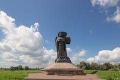 Turov Vitryssland - Augusti 7, 2016: monument till Kirill av Turov i staden av Turov, Vitryssland arkivbild