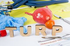 TURP Medical surgery urology abbreviation or acronym of transurethral resection of prostate gland, surgical operation on prostate. Word TURP near model of stock photography