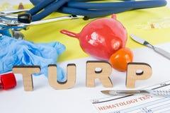 TURP operaci urologii Medyczny skrót lub akronim transurethral resekcja prostata gruczoł, chirurgicznie operacja na prostacie fotografia stock