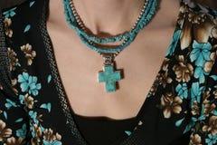 Turqoise Cross. Necklace Cross Stock Photos