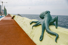 Turqoise Octopus Sculpture at Sea Side of Jeju, South Korea Royalty Free Stock Photo