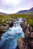 Turqouise waterfall Iceland. A beautiful turqouise waterfall near the Seydisfjordur,Iceland and cover with wild blueberries Stock Photos
