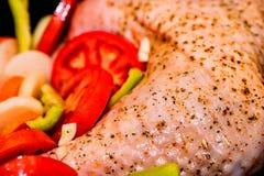 Turquía adornó con las verduras adentro antes de cocinar Imagen de archivo libre de regalías