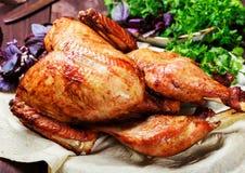 Turquía asada La tabla de la acción de gracias sirvió con el pavo, adornado con verdes y albahaca en fondo de madera oscuro Comid Foto de archivo libre de regalías