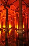 Turquía. Estambul. Cisterna subterráneo de la basílica Fotos de archivo libres de regalías